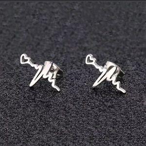 Stainless Steel Heartbeat Stud Earrings - LAST 1!
